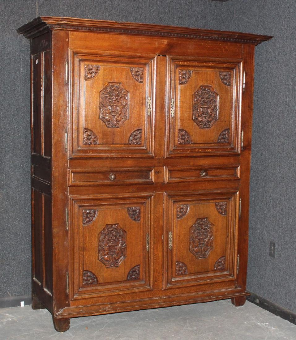 French Provincial Carved Oak and Chestnut Armoire