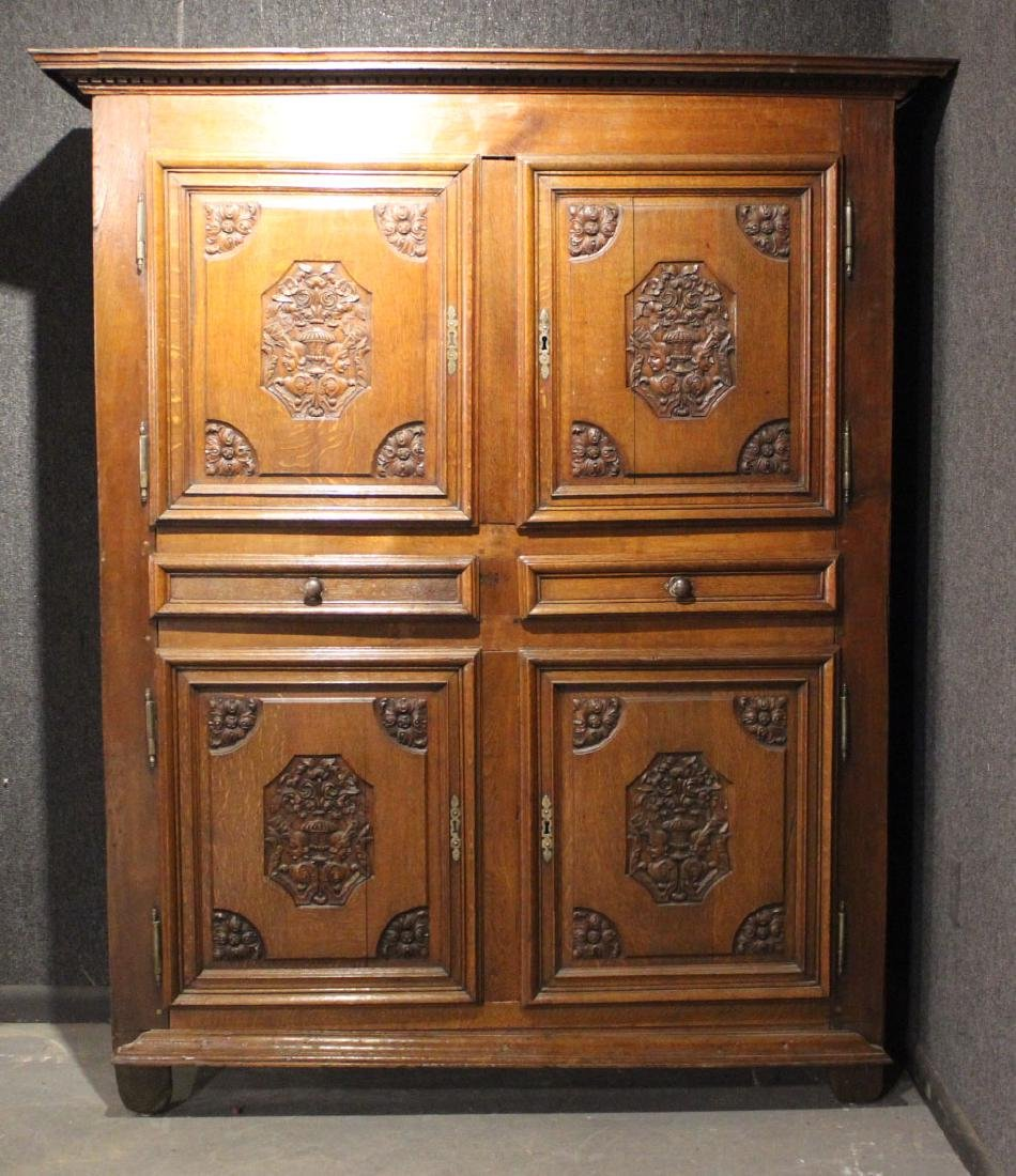 French Provincial Carved Oak and Chestnut Armoire - 2