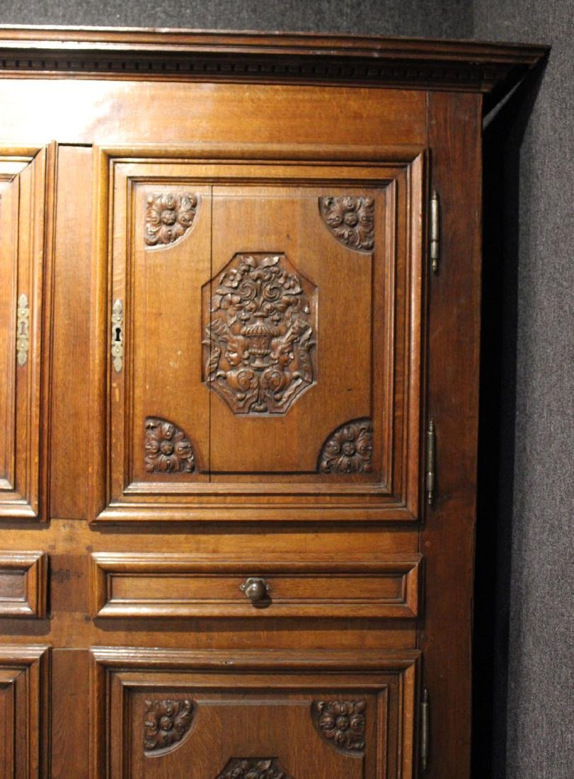 French Provincial Carved Oak and Chestnut Armoire - 3