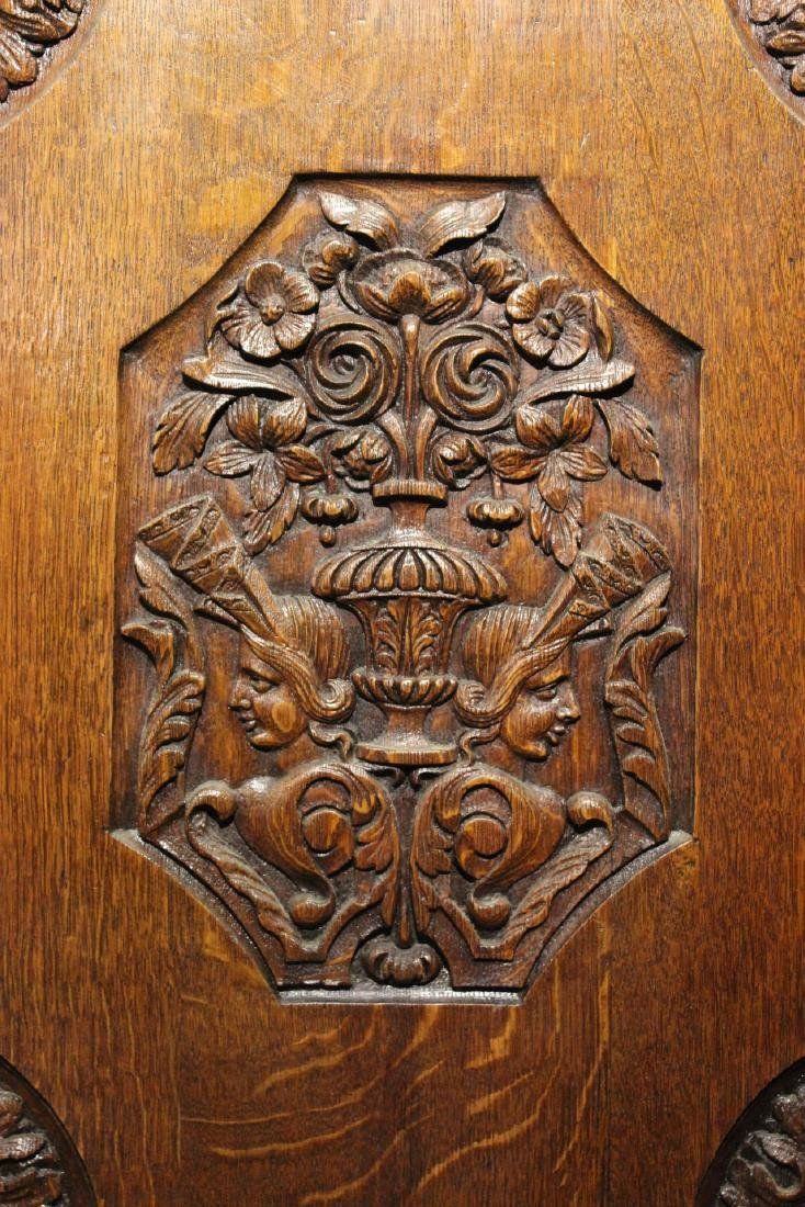 French Provincial Carved Oak and Chestnut Armoire - 4