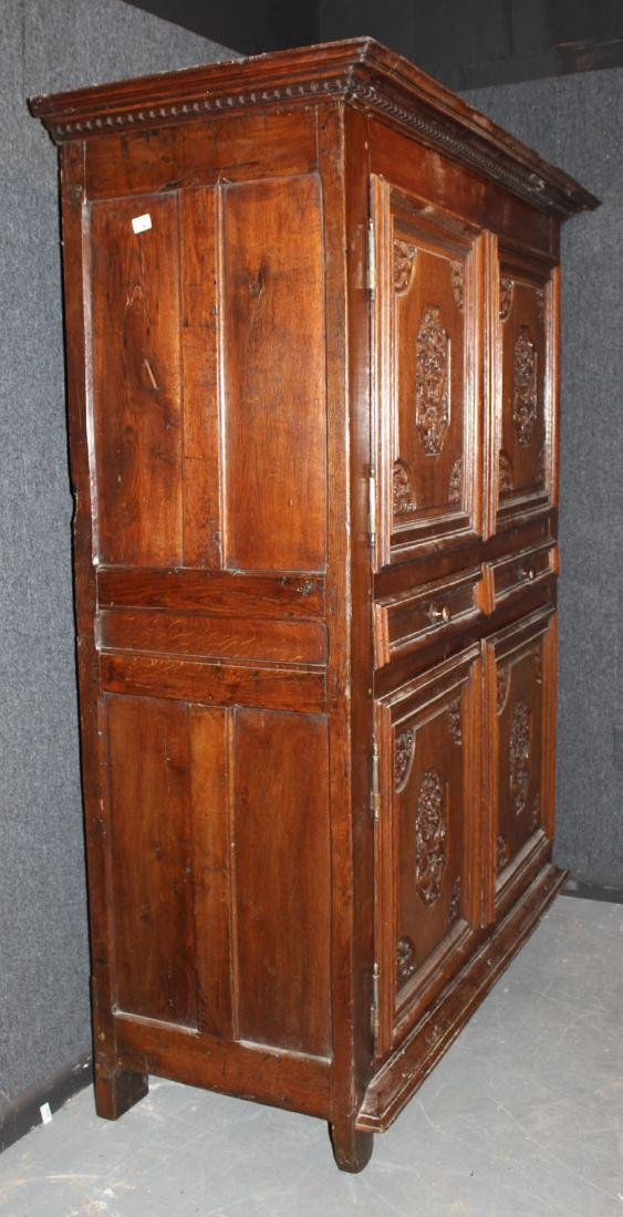 French Provincial Carved Oak and Chestnut Armoire - 6