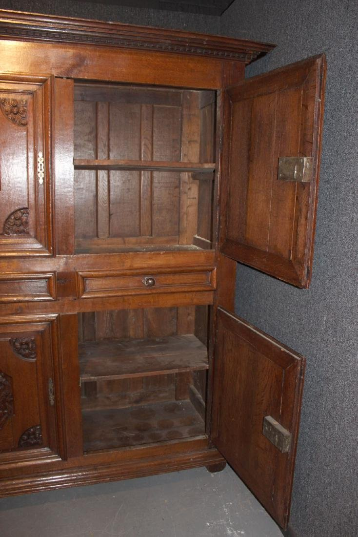 French Provincial Carved Oak and Chestnut Armoire - 9