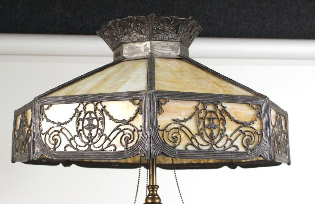 Carved Mahogany and Slag-Glass Floor Lamp - 3