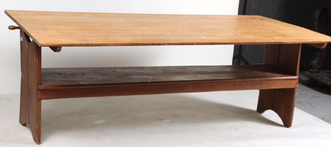 Pine Tilt-Top Settle Table - 2