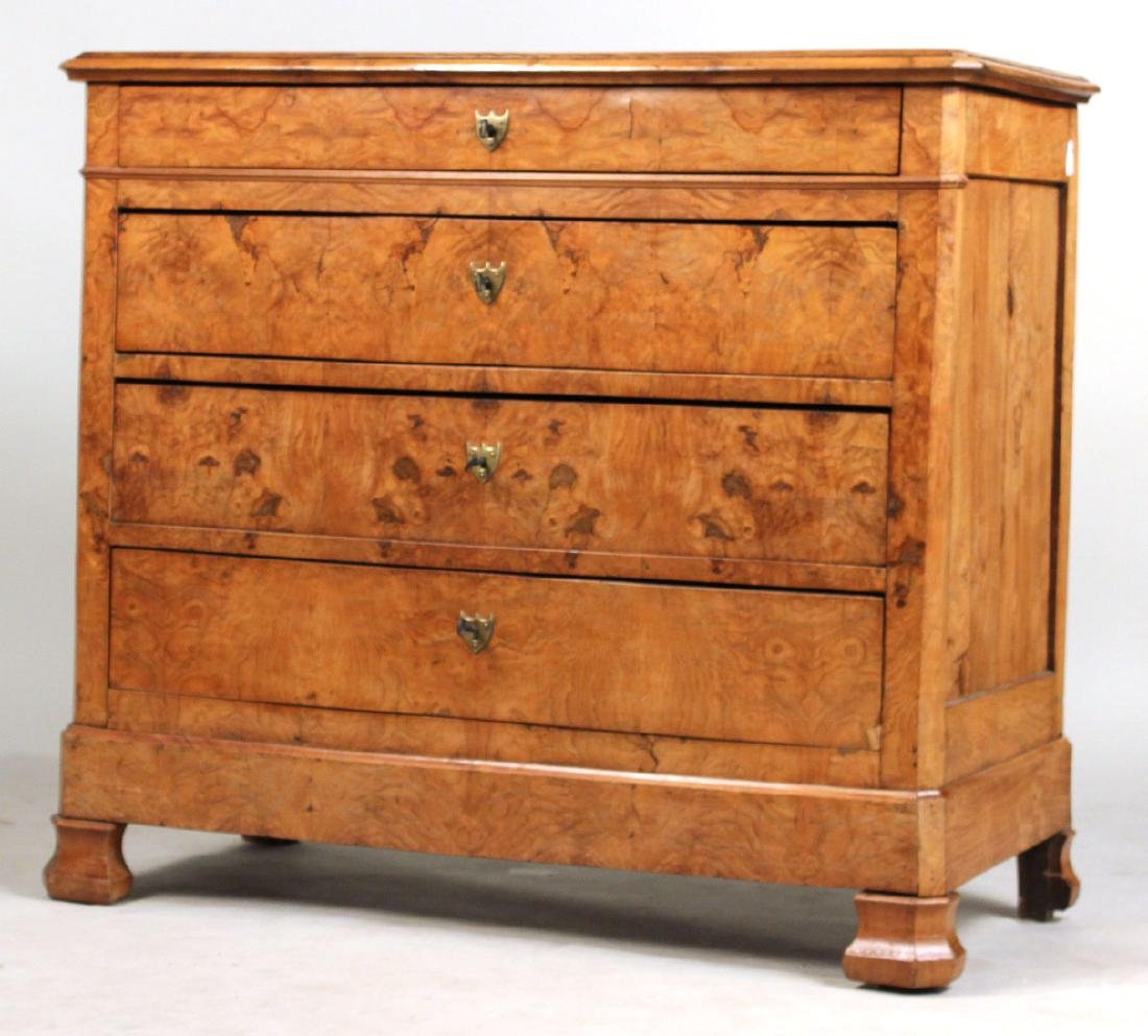 Biedermeier Figured Walnut Chest of Drawers