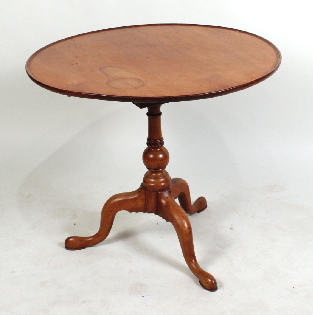 Chippendale Turned Cherrywood Tilt-Top Tea Table