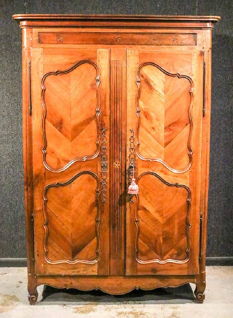 French Provincial Inlaid Cherrywood Armoire