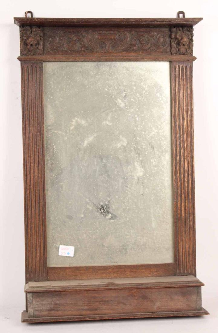 Neoclassical Style Carved Oak Mirror with Shelf