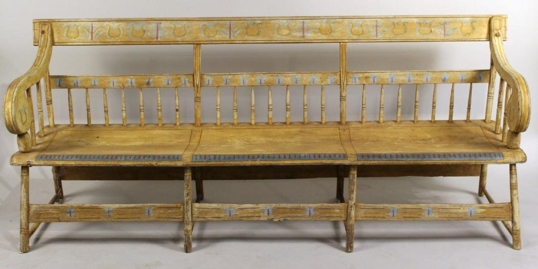 Late Federal Yellow-Painted Bench