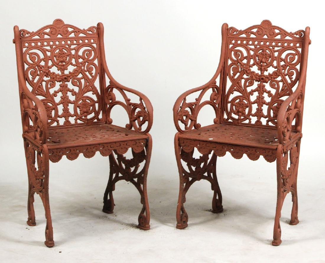 Pair of Red-Painted Cast-Iron Garden Armchairs