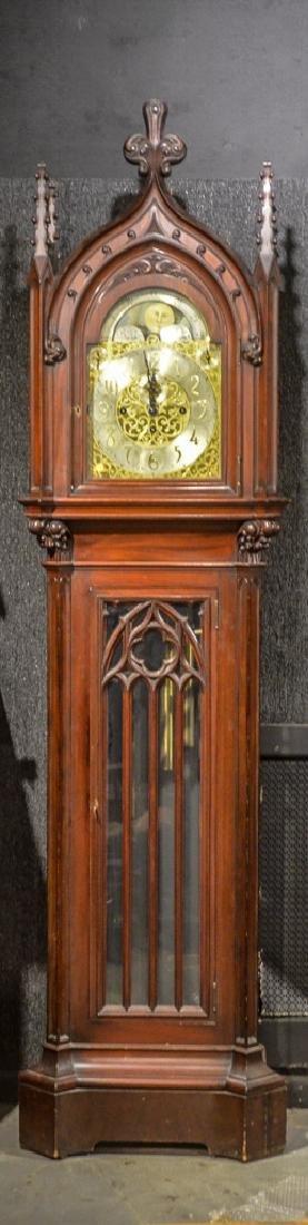 Gothic Revival Mahogany Tall Case Clock