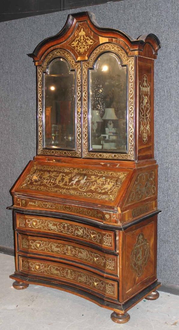 Baroque Inlaid Walnut Desk and Bookcase