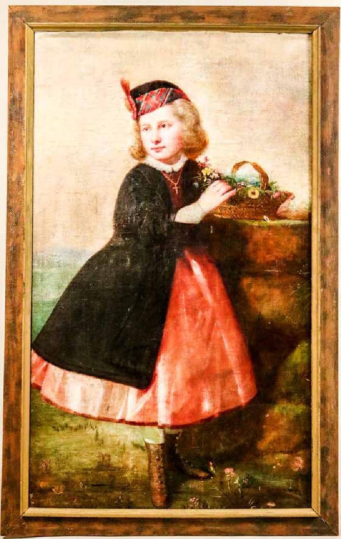 Oil on Canvas, Girl with Flower Basket