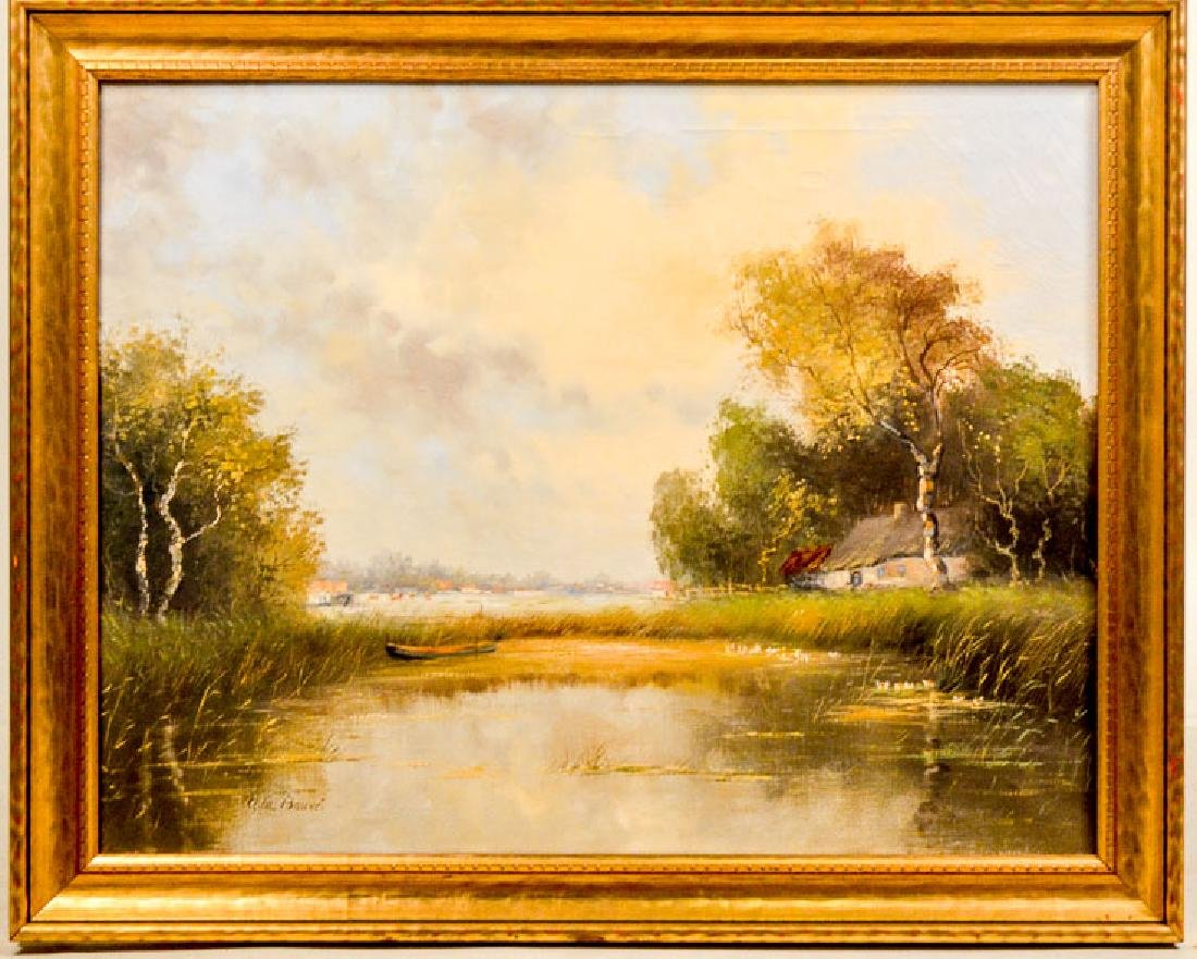 Oil on Canvas, Riverscape, A.W. Bauve