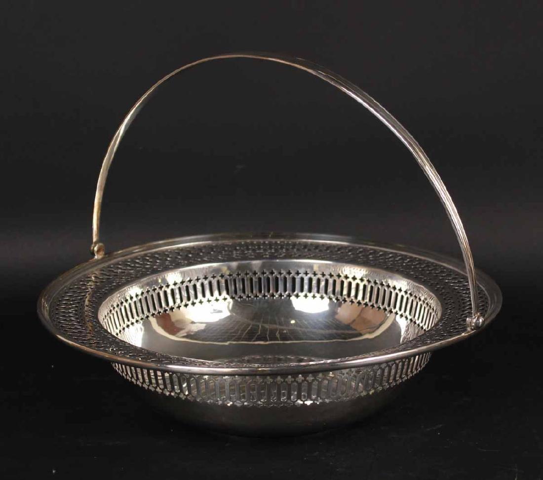 Sterling Reticulated Swing Handled Basket