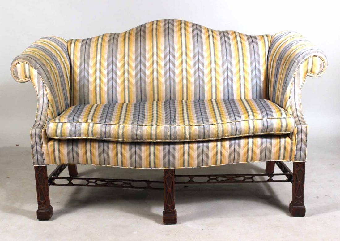 Baker Furniture Mahogany Camelback Love Seat
