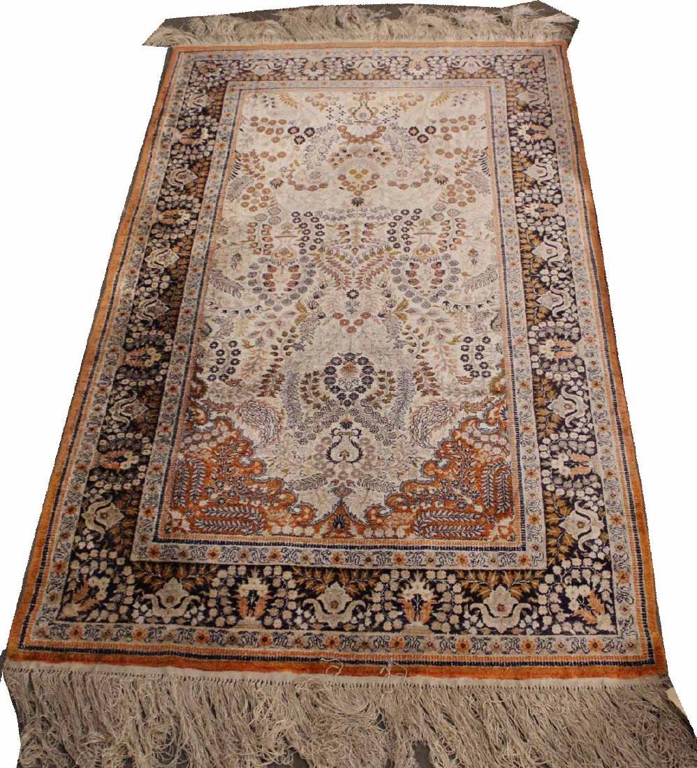 Sarouk Style Silk Prayer Rug