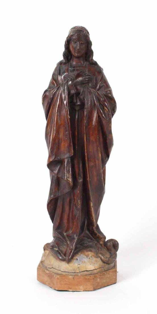Carved Wood Figure of Virgin Mary