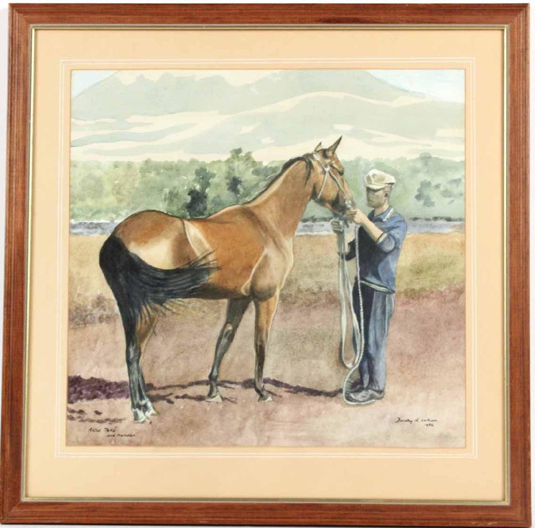 Watercolor on Paper, Man & Horse, Dorothy Latham