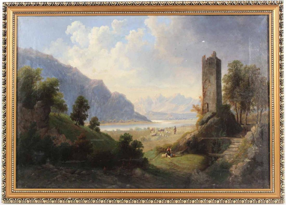 Oil on Canvas, Landscape with Ruins