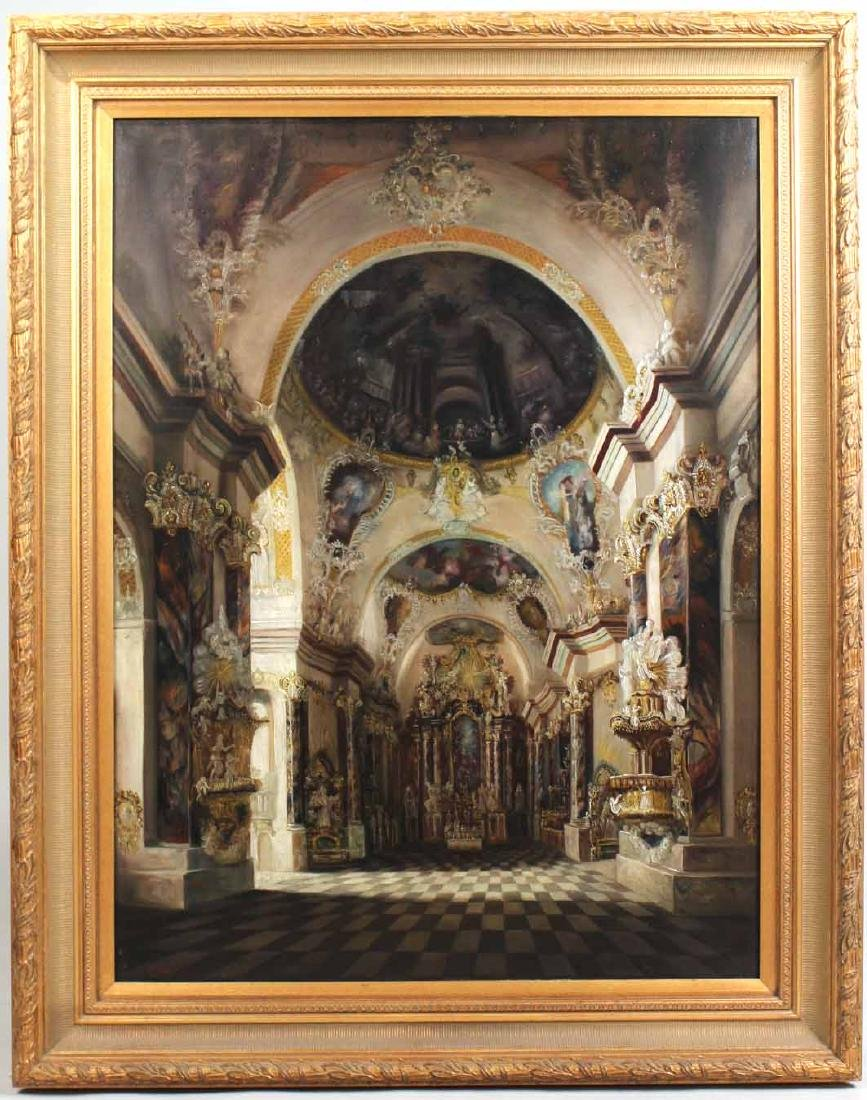 Oil on Canvas, Cathedral Interior, P. Andover