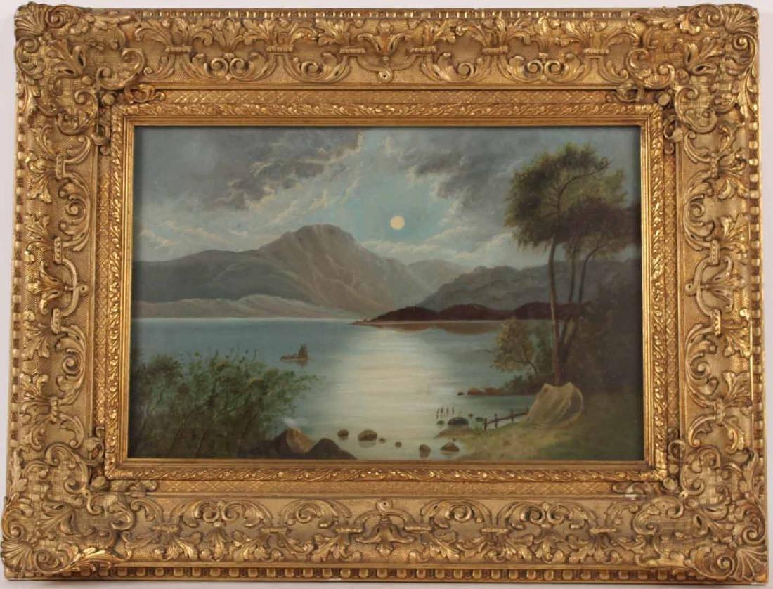 Oil on Artist Board, Moonlight Lake Scene