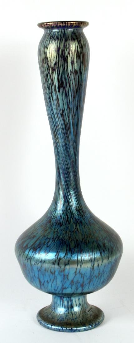 Blue Farvile Style Art Glass Vase