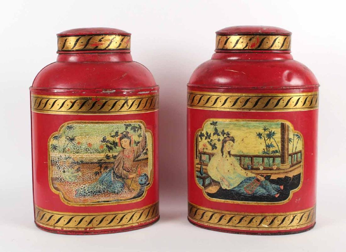 Pair of Chinoiserie Decorated Tole Tea Canisters