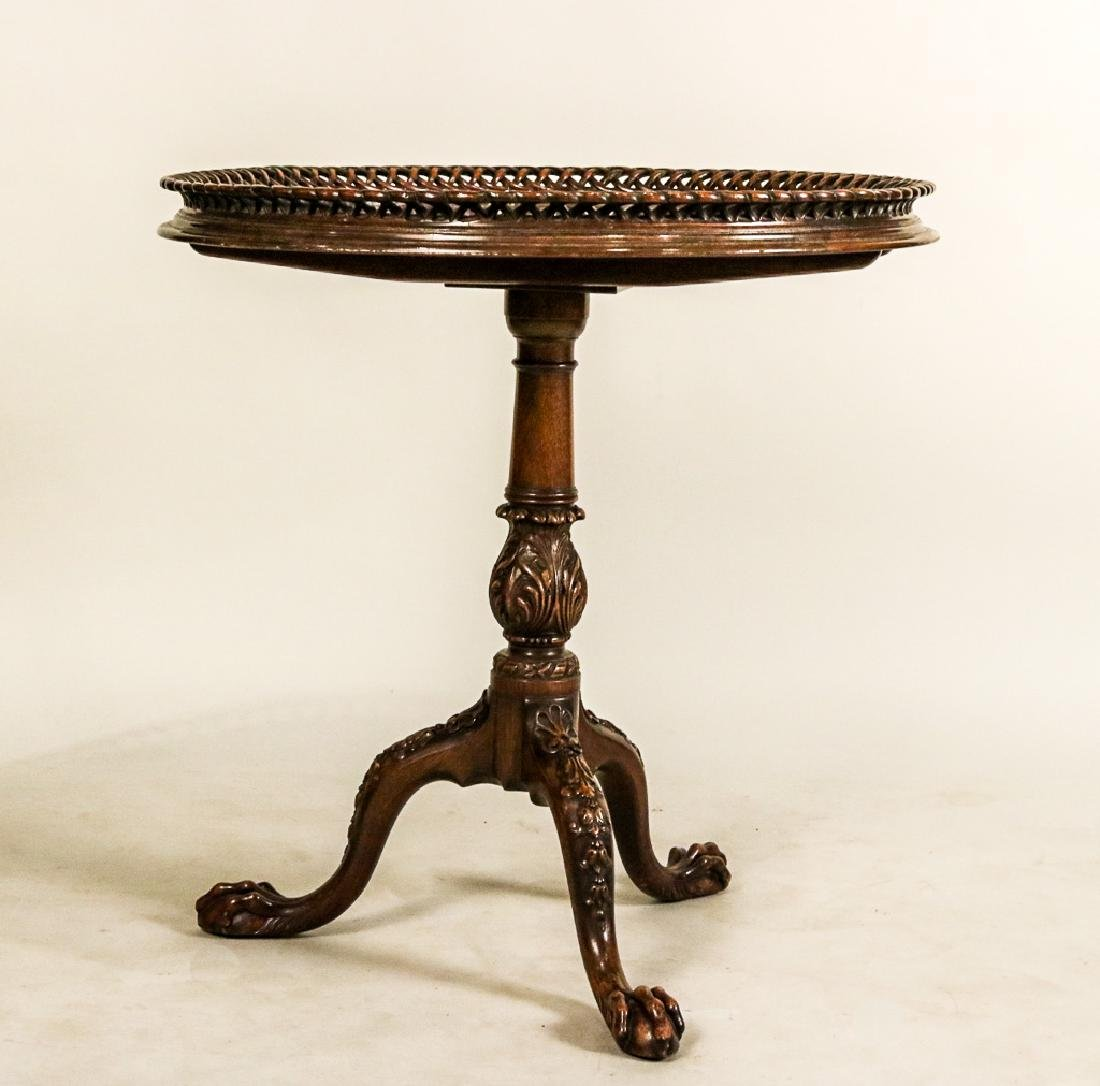 George III Style Carved Mahogany Tea Table