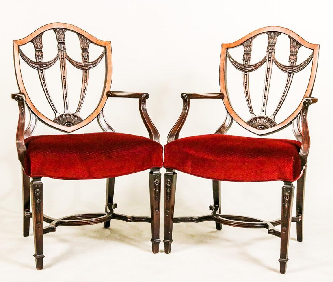 Pair of Federal Style Inlaid Mahogany Armchairs