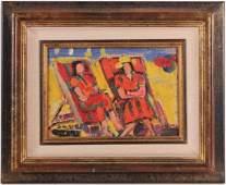 Oil on Canvas, Two Women on Beach, Robert Savary