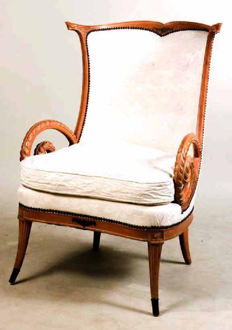 Neoclassical Style Carved Armchair