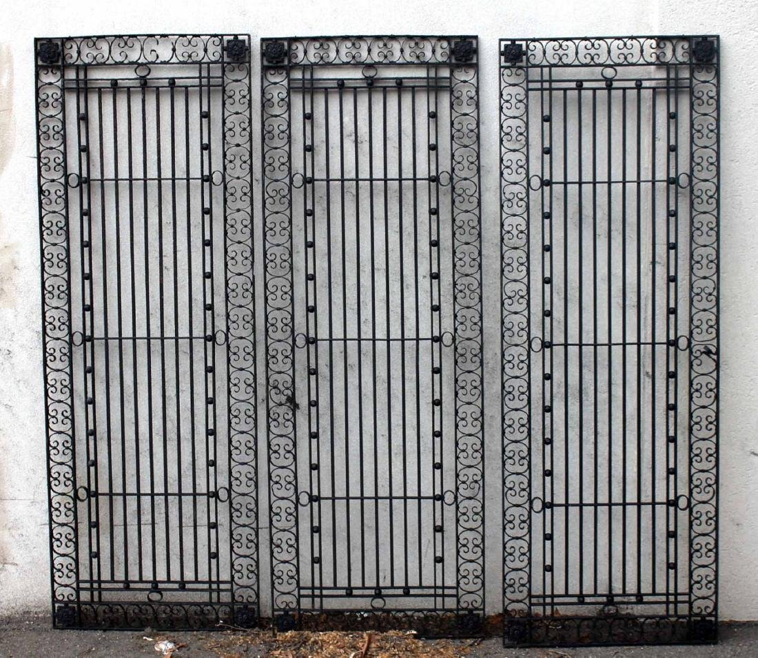 Three Black-Painted Wrought-Iron Gates