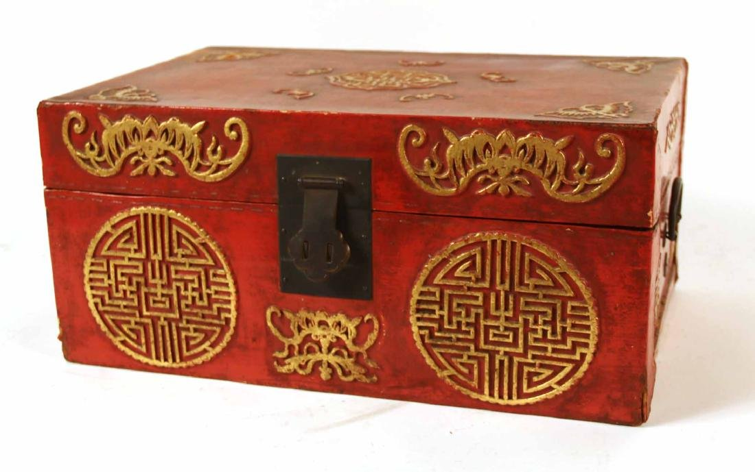 Chinese Red Lacquer Papier Mache Box