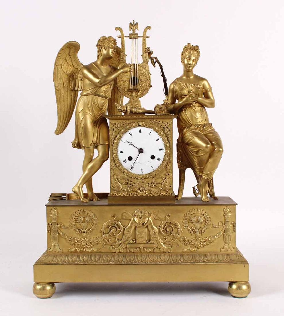 Neoclassical Ormolu Figural Mantle Clock