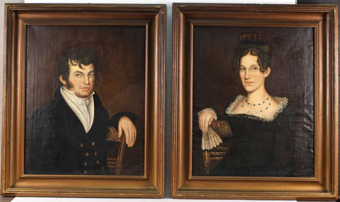 Pair of Oil on Canvas Portraits