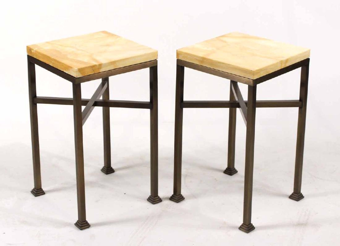 Pair of Square Marble Top Metal Tables