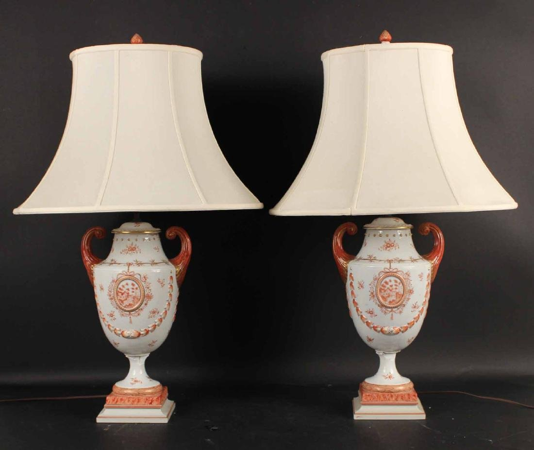 Pair of Samson Chinese Export Style Covered Urns