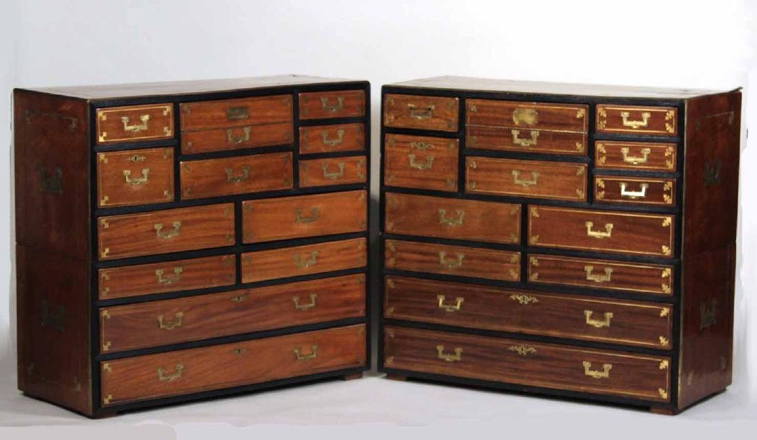 Pair of Regency Brass-Bound Campaign Chests