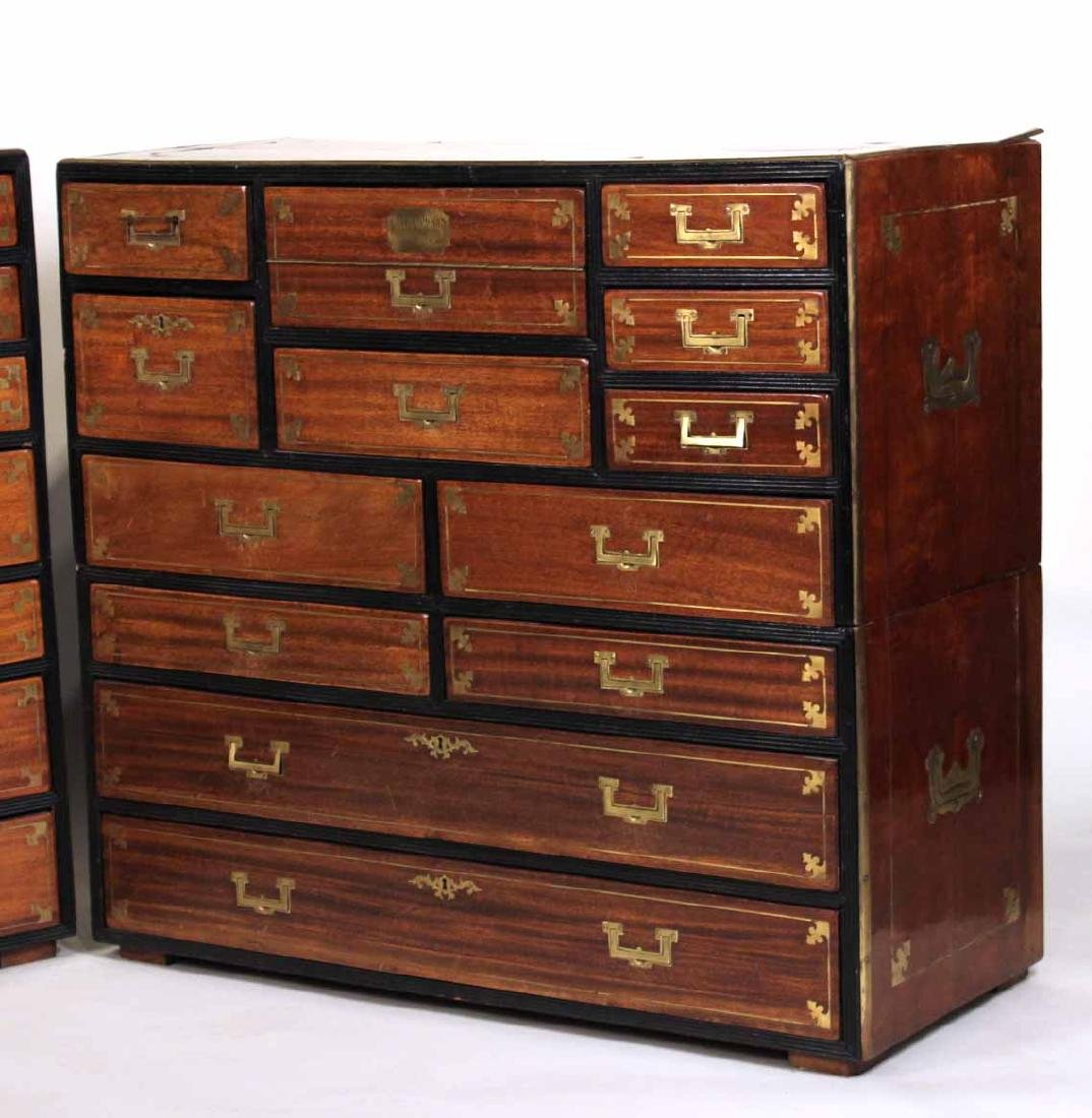 Pair of Regency Brass-Bound Campaign Chests - 2