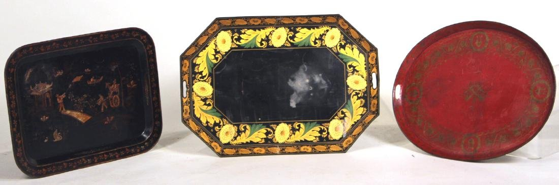Regency Red Painted Tole Tray