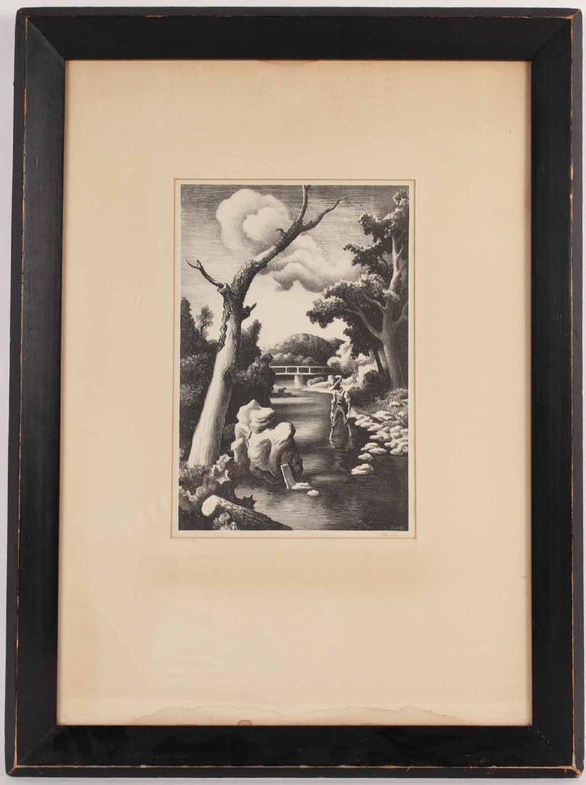 Engraving, Thomas Benton, Man in Creek