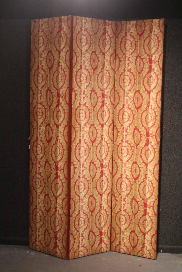 Red Wallpaper Covered Three Panel Screen