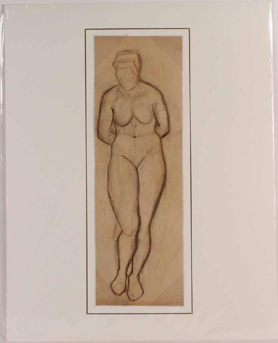 Conte Crayon on Paper, Nude Woman Figure