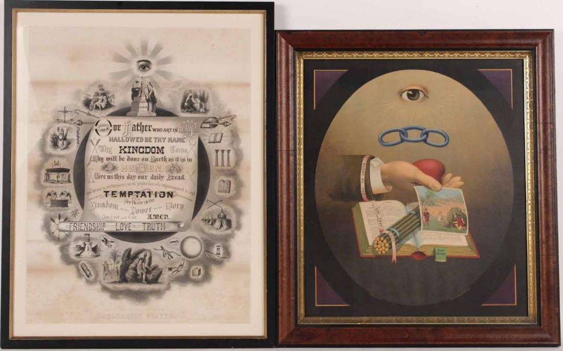 Two Lithographs Independent Order of Odd Fellows