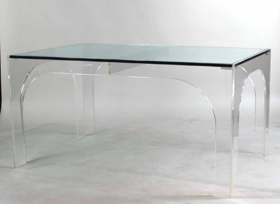 Modern Glass Top Lucite Table