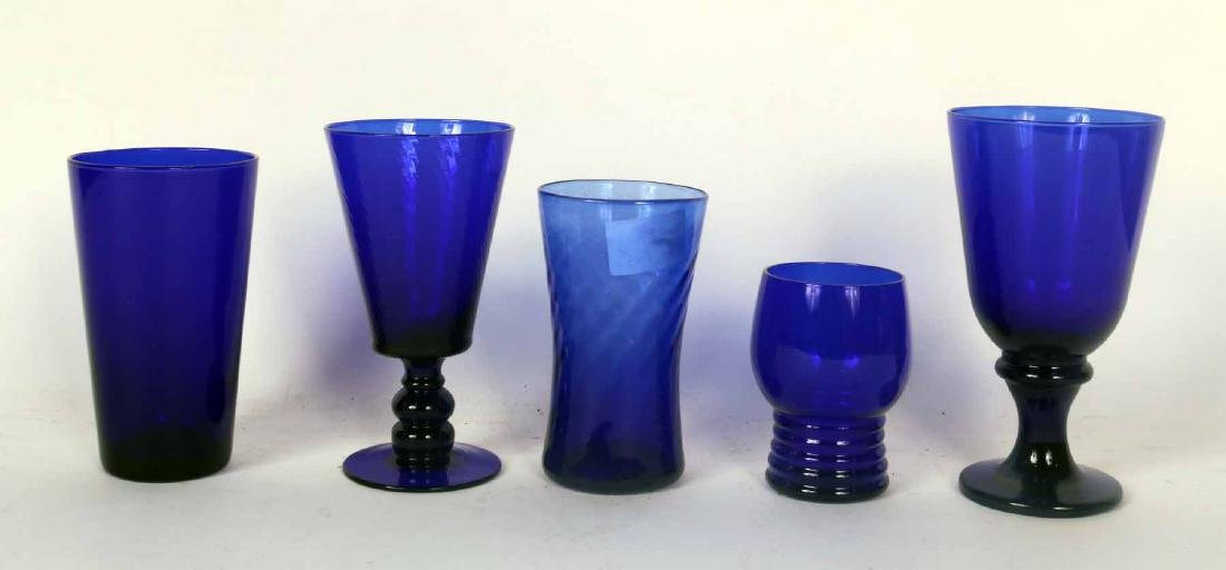 Large Group of Cobalt Glasses