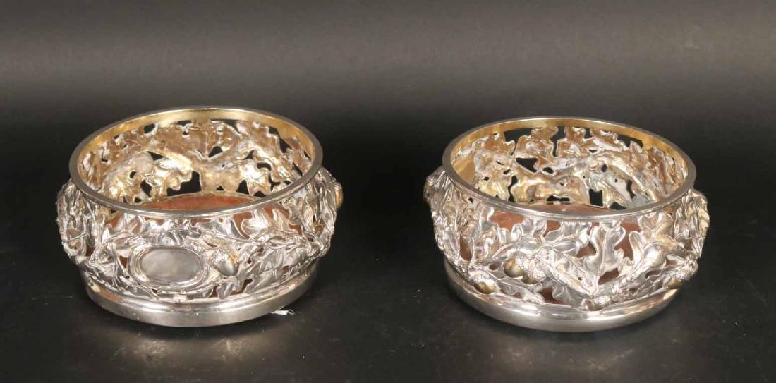 Pair of Ornate Sterling Silver Wine Coasters