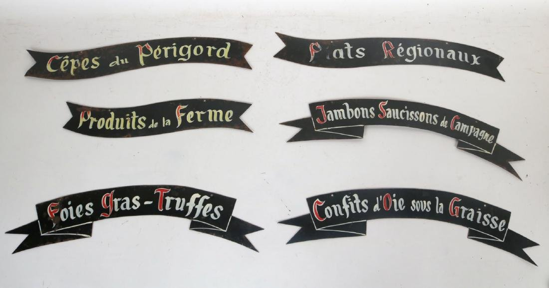 Six French Painted Metal Bakery Signs