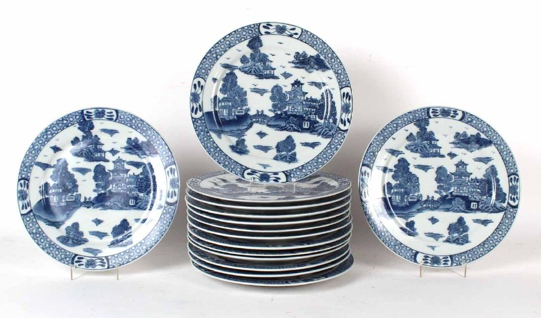 Fifteen Chinese Blue and White Porcelain  Plates